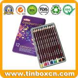 パステル調のコレクション、金属の文房具ボックスのための着色された鉛筆の錫の箱