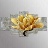 5 Panel-HD gedruckte anstreichende goldene Blumen-Segeltuch-Ausgangsdekor-Wand-Kunst-Abbildung für Wohnzimmer Kn-241