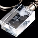 De beste Verkopende Foto Keychain van het Glas van het Kristal van de Gravure van de Laser van de Vorm van het Hart 3D