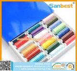 De kleurrijke 100% Gesponnen Naaiende Draad van de Polyester op Kleine Spoelen