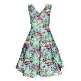 Roupas de estilo vintage Deep V vestidos florais de círculo completo para meninas