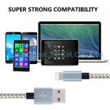 Cable de carga rápido trenzado de nylon del USB de los datos 8pins para el iPad iPhone6 7