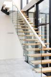 Projeto de madeira personalizado das escadas da escadaria reta com trilhos de vidro