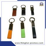 Металл подгонянный способом выдвиженческий кожаный Keychain Keychain