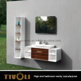 Module de salle de bains en bois de modèle de traitement de double tiroir (V004)