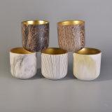 ヒョウの印刷の金電気版の内部が付いている装飾的な陶磁器の蝋燭ホールダー