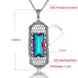虹の水晶925のStrelingの銀製の長いペンダント