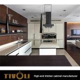 Gabinete branco de Ktichen da forma com costume livre Tivo-0201h do projeto de madeira da bancada e do punho