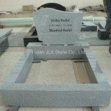 G633 Pierre tombale de granit gris à la main sculptée Rose