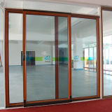 Aluwood 박판으로 만들어진 유리를 가진 알루미늄 안뜰 미끄러진 및 상승 문 및 미끄러지는 스크린을