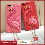 Cajas de cuero del teléfono móvil de la PU del flamenco del grano de encargo de lujo de Lichee