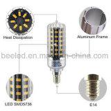 La luz E14 10W del maíz del LED calienta la lámpara de plata blanca del bulbo de la carrocería LED del color