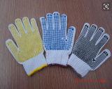 Gants tricotés en pointillé de travail de coton avec le PVC parsemé