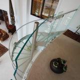 Scala a spirale di disegno moderno con la balaustra ed il corrimano di vetro