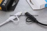 1.5m 2 in 1 Kabel USB met het Zwarte of Witte Kostuum van de Kleur Al Slimme Telefoon