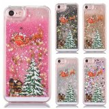 Cas liquide de téléphone mobile de sable mouvant de scintillement de cadeau de décor de Noël pour le cas de l'iPhone 7