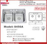 Topmount Cupc Certifactionの洗面器の50/50のステンレス鋼の倍の台所の流し3322
