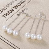 Elegante dell'argento sterlina di disegno 925 del tessuto retro per gli orecchini di goccia della perla & dell'onda dei monili delle donne