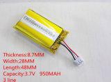 3.7V 950mAh 872848 Lithium Polymer Li-Po Li Ion Batteries rechargeables pour MP3 MP4 MP5 GPS PSP Mobile Bluetooth