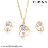 64045 Geplateerde Juwelen van het Zirkoon van de manier de Kleurrijke Goud die in het Ontwerp van het Hart worden geplaatst