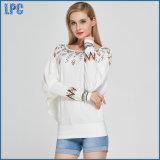 De T-shirt van de manier van de Afgedrukte Witte Ronde Lange Koker van de Hals