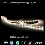 solo color de los 60LEDs/M 14.4W 5m/Reel 5050 o tira impermeable del RGB LED