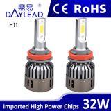 Indicatore luminoso luminoso eccellente dell'automobile del LED con l'indicatore luminoso dell'automobile del chip della PANNOCCHIA del ventilatore 2800lm