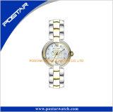 Goldvorwahlknopf-Genf-Frauen-Edelstahl-Dame-Uhren