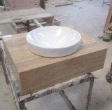 Dessus de vanité de salle de bains et action en pierre de marbre beiges de Backsplash