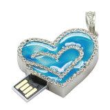Amor Coração Pen Drive USB à prova de joalharia 16GB chaveiro