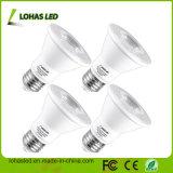 A intensidade de luz da lâmpada LED 40 GRAUS E27 Par20 9W branco frio luz PAR LED