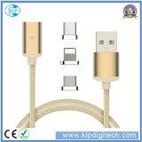 3 em 1 cabo magnético de nylon do USB da trança para o Android e o Tipo-c do iPhone