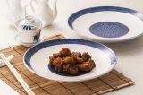백색과 파란 색깔 상류 멜라민 큰 접시