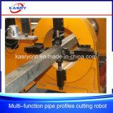 Corte cuadrado del CNC del tubo del perfil del tubo y máquina que hace frente que bisela con la antorcha del plasma y de la llama
