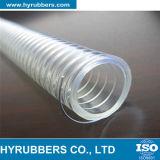 Tubulação transparente reforçada espiral do PVC da mangueira do fio de aço do PVC