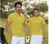 Großhandelsspitzenunisexgolf-Polo-Hemd mit Diamant-Baumwollstreifen
