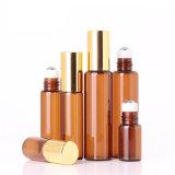 Aceite Esencial de bola de color ámbar frascos de perfume 2.5ml 5ml 10ml Roll on las botellas de vidrio Bolilla para botellas de aceite esencial de perfumes