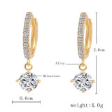 Orecchini a cristallo di Zircon di colore dell'oro di modo degli orecchini della vite prigioniera