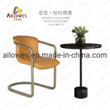 Restaurante Mobiliário metálico em aço inoxidável de banco de PU Cadeira para sala de jantar de Lazer