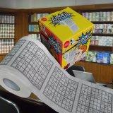 Essuie-main de papier estampé par coutume de nouveauté de tissu de rouleau de papier hygiénique de Sudoku