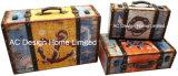 S/3 оформлены старинной Vintage красочные морские дизайн печати фиолетового цвета кожи/MDF деревянные окна чемодан для хранения данных