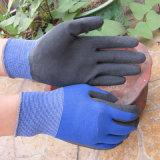 Polyester la mousse de latex gant de travail de feux de croisement Palm main gants de latex