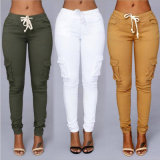 Calças Elevadas-Waisted das cores para a roupa da mulher