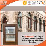 Ventana de madera del último diseño, ventana de aluminio del marco de la rotura termal revestida de madera de la teca del cliente de América California