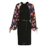 Schwarzes Blumendruck Bodycon elegantes Dame-Bleistift-Kleid mit Riemen
