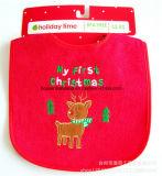 중국 공급자는 디자인에 의하여 수를 놓은 크리스마스 빨간 면 테리 아기 수도꼭지 앞치마를 주문을 받아서 만들었다