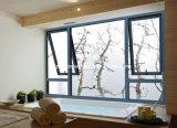 Graues Puder-überzogenes Aluminiumgehangenes Spitzenflügelfenster Windows mit der Doppelverglasung (CL-1023)