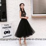 Black Prom vestidos bordados curto vestido de Festa da Flor