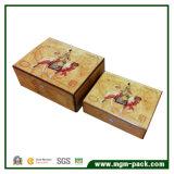 Glossy Piano Painting Caixa de charuto de madeira com bloqueio
