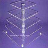 5つの層の正方形のアクリルのウエディングケーキの立場(BTR-K3019)